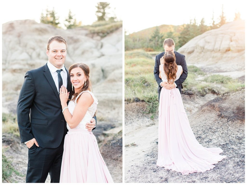 chris and lina smiling at the camera bacl shot of the blush pink dress and groom hugging in the couple photos