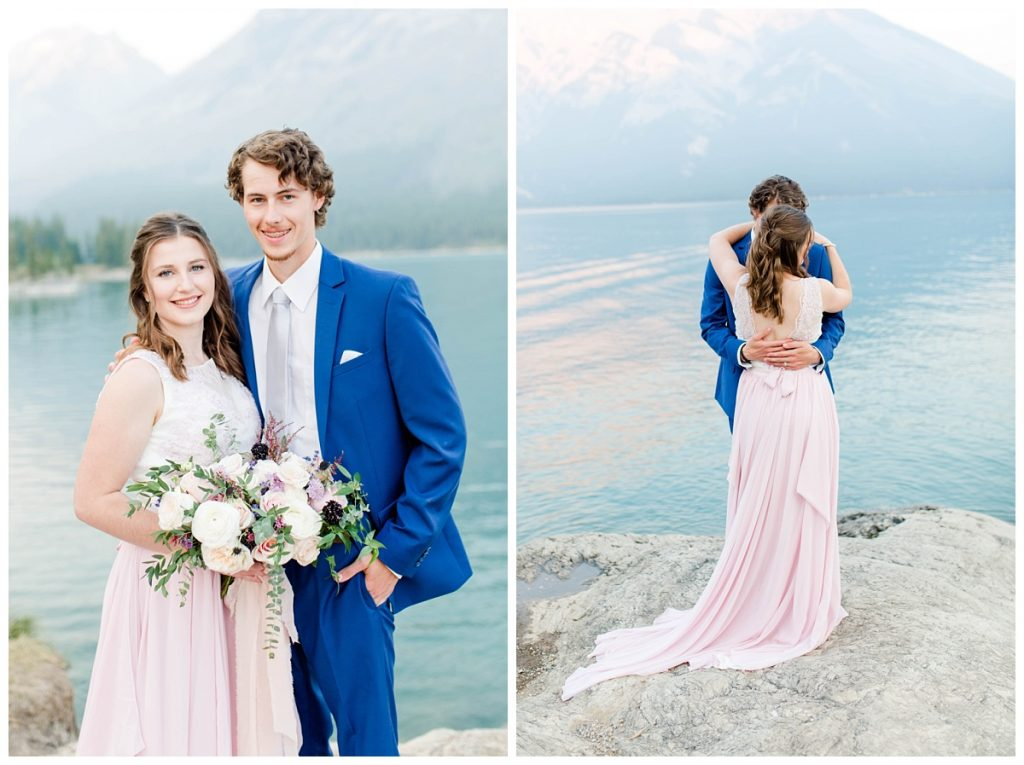 shauna and james at minnewanka lake for their anniversary photos with grande prairie photographer kayla lynn photography banff mountains photos