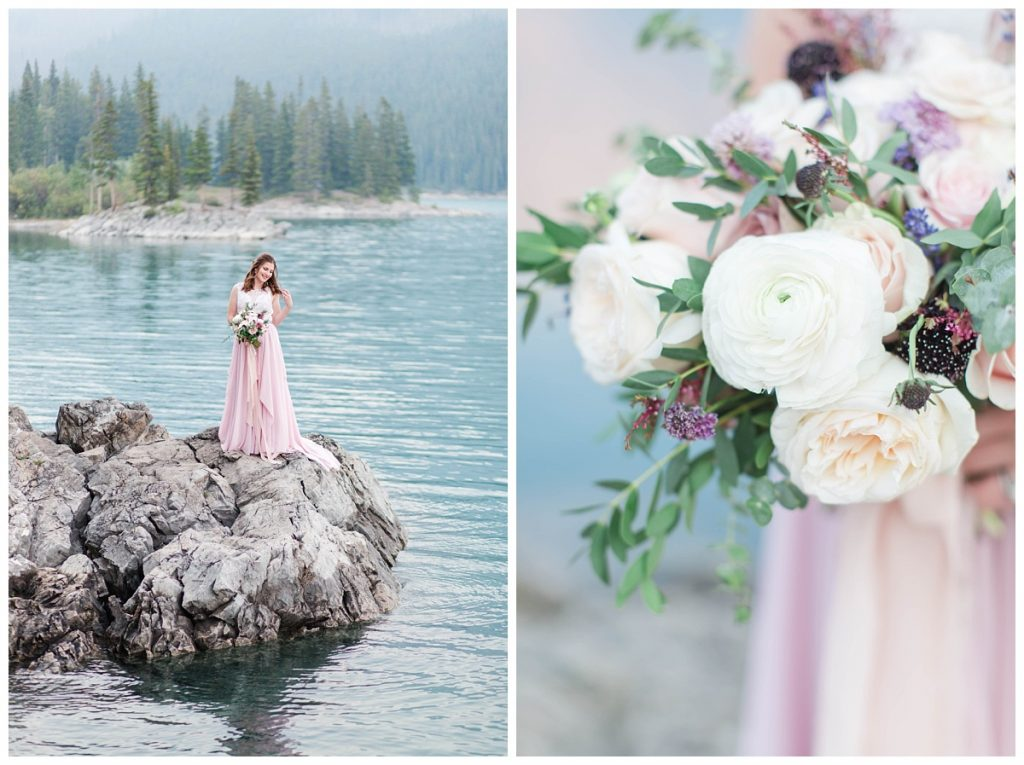 banff and alberta couple wedding and engagement photographer at lake minnewanka with light blush pink chiffon dress and flowers by wild magnolia floral