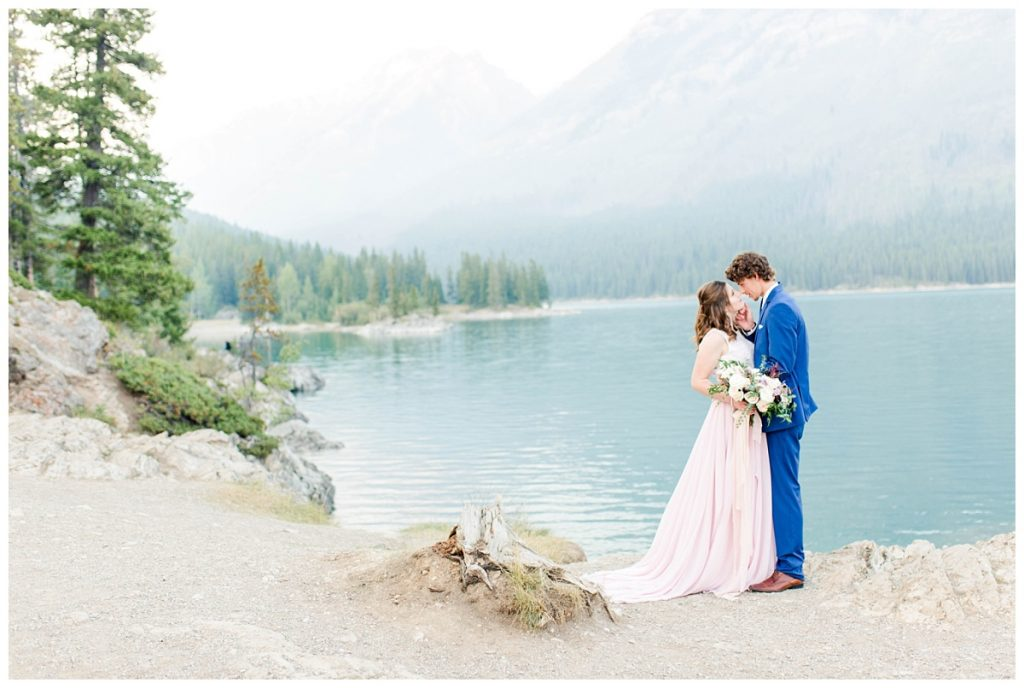 shauna and james at minnewanka lake in banff for their wedding and engagement photos