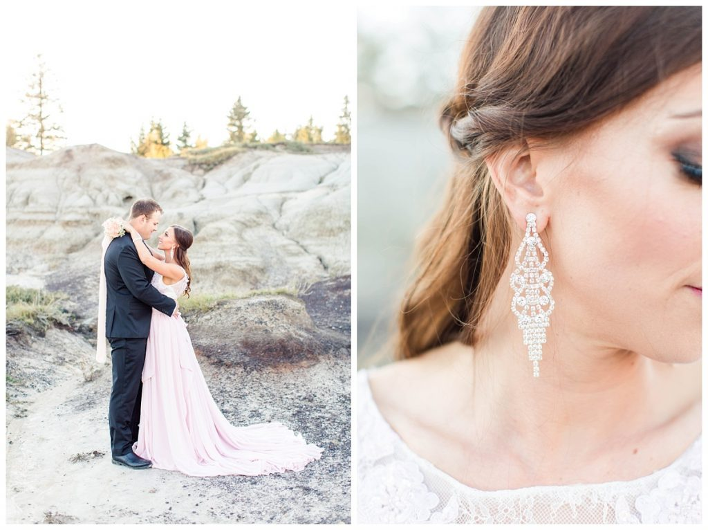 romantic couple in grande prairie alberta at kleskun hills and the detail of earrings wearing blush pink chiffon dress and black suit