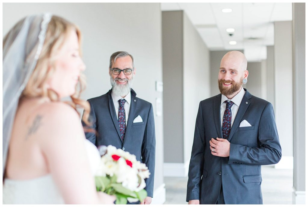 brides brother seeing her sister for the first time at the pomeroy hotel before wedding day all the emotion