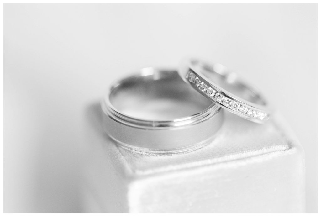 bride and groom wedding ring black and white on a mrs box