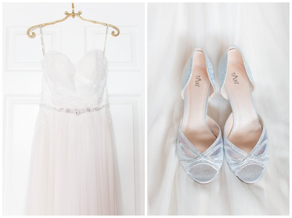 elegant wedding hanger and shoes on taylors getting ready photos gold wedding hanger wedding