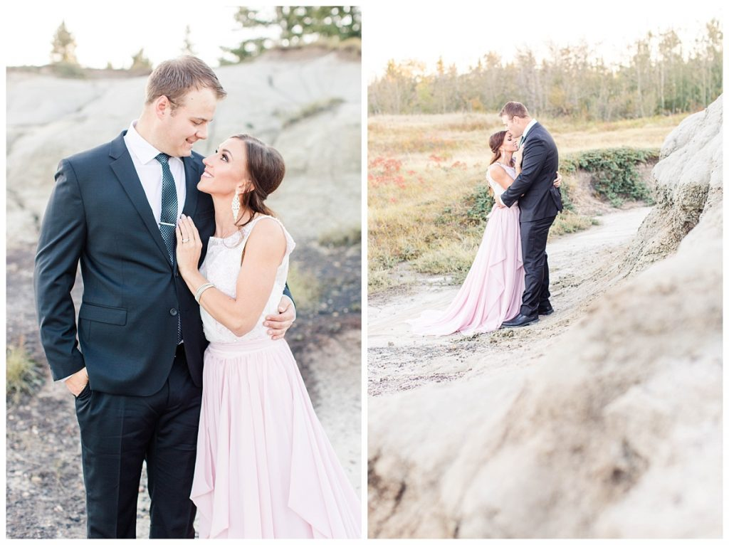 grande prairie wedding photographer groom kissing bride forehead with blush pink dress beautiful engagement clothing