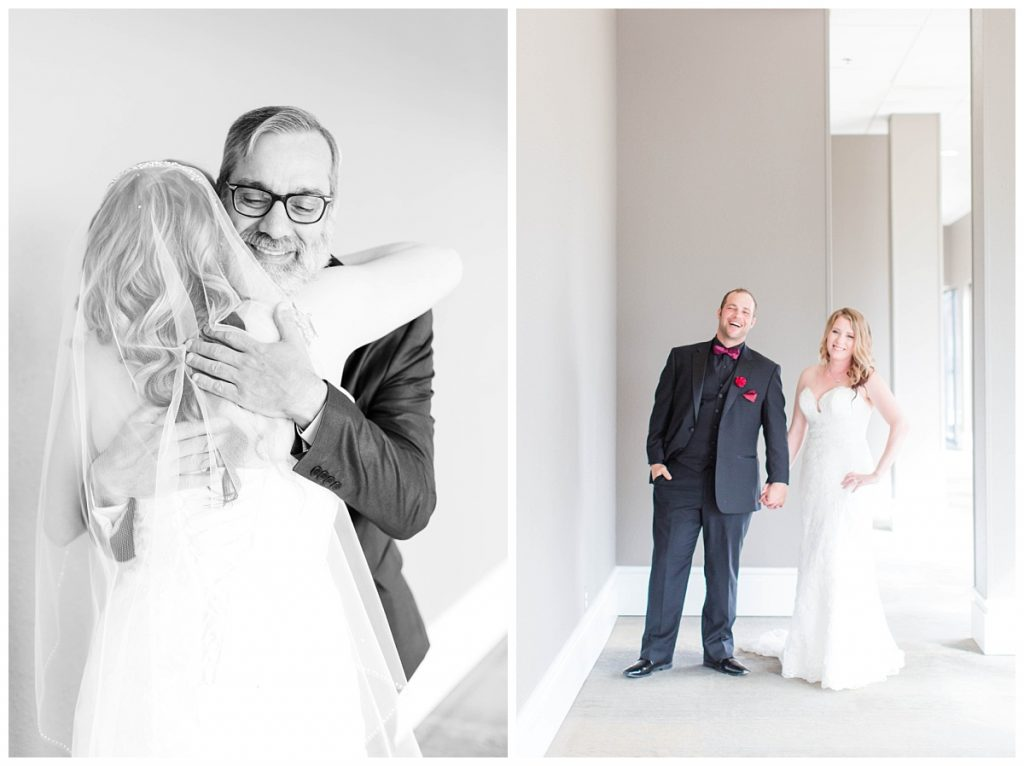 bride dad hugging her for the first look at the pomeroy hotel bride and groom smiling photo