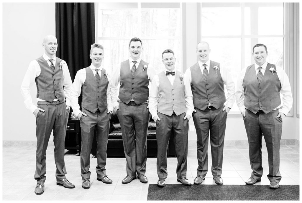 groomsmen group photo at clarkson hall in black and white getting ready