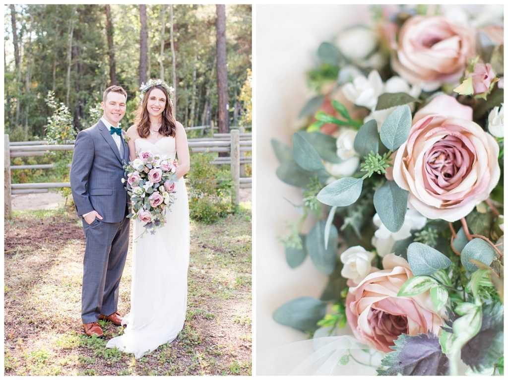 dunvegan gardens wedding blush flowers cascading bouquet grande prairie bride and grom smiling for photos at clarkson hall