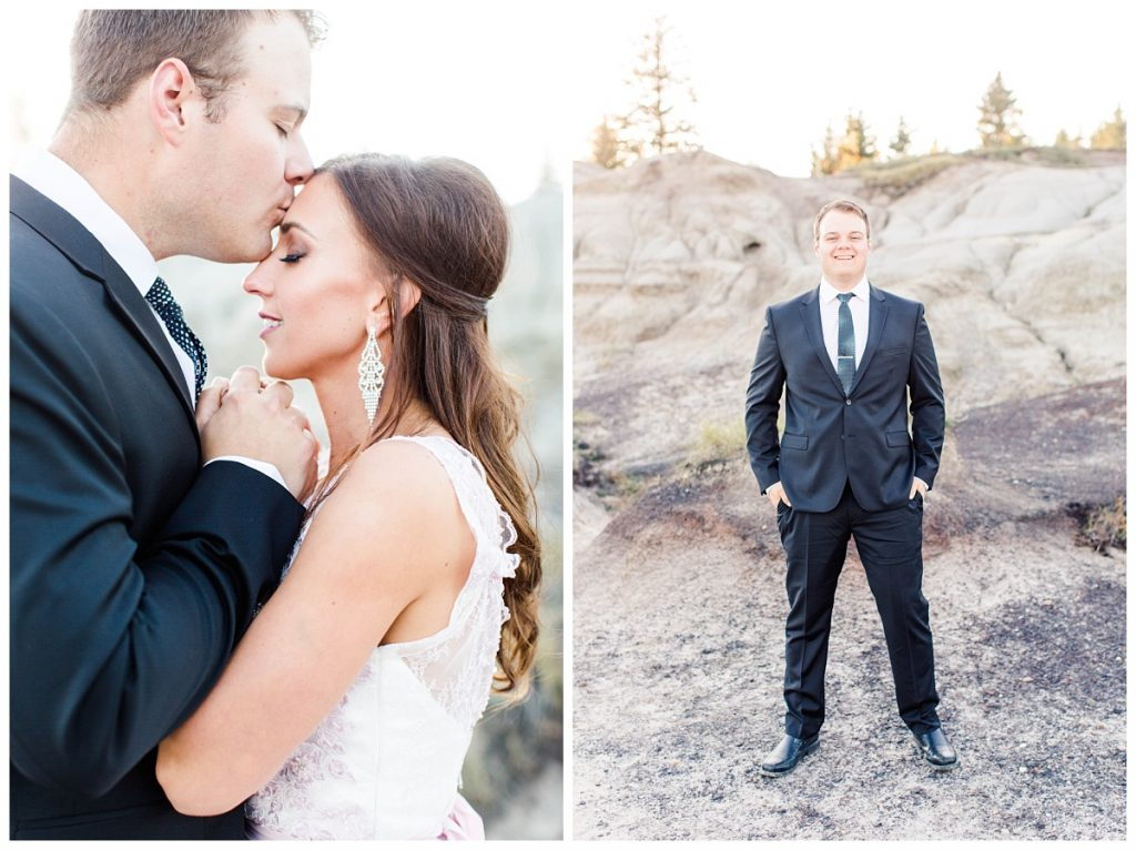 groom chris kissing lina bride forehead for engagement photos in grande prairie alberta at kleskun hills grande prairie alberta photographer