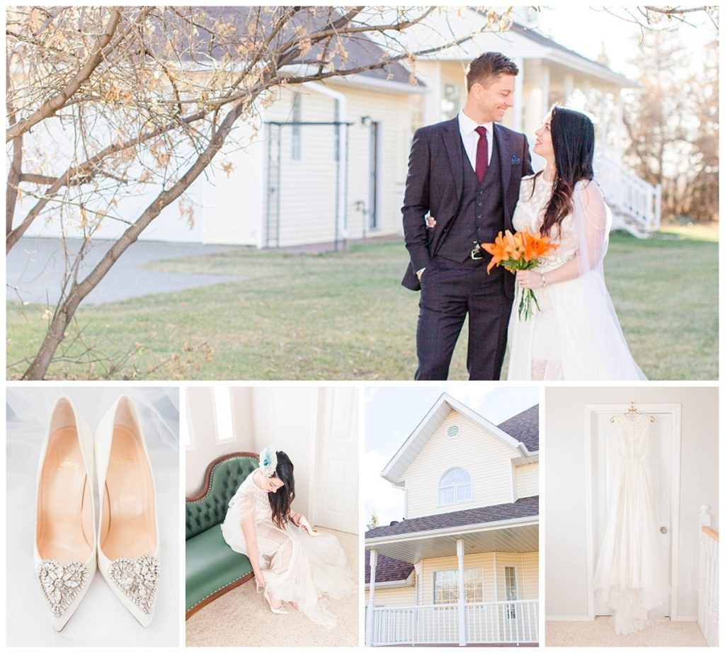 beautiful wedding photographer in fairview grande prairie photographer with karl and katelyn vow renewal fall wedding photos with lots of elegant victorian details and shoes and yellow house