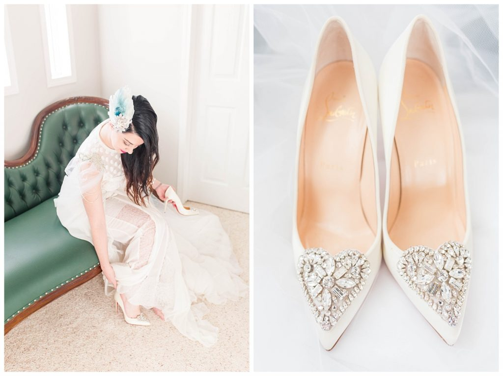 elegant wedding photographer photography located in fairview bnb oliver wedding shoes bride getting ready white white walls and victorian vintage green couch