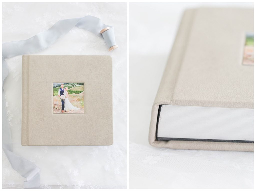 thick pages smooth mat photo album high quality with custom photo on the front of the kelowna alberta wedding couples with top grain genuine leather kayla lynn photography