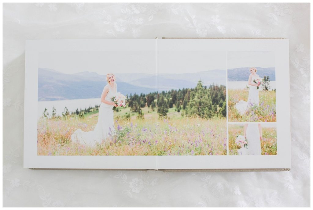 happy bridal portraits in kelowna in the wedding album printed on thick pages