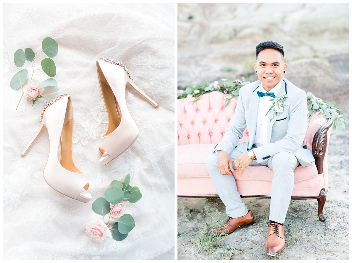 rex groom sitting on blush pink couch farm house vintage rentals in grande prairie wedding photographer shoes and details with bling out parties florals