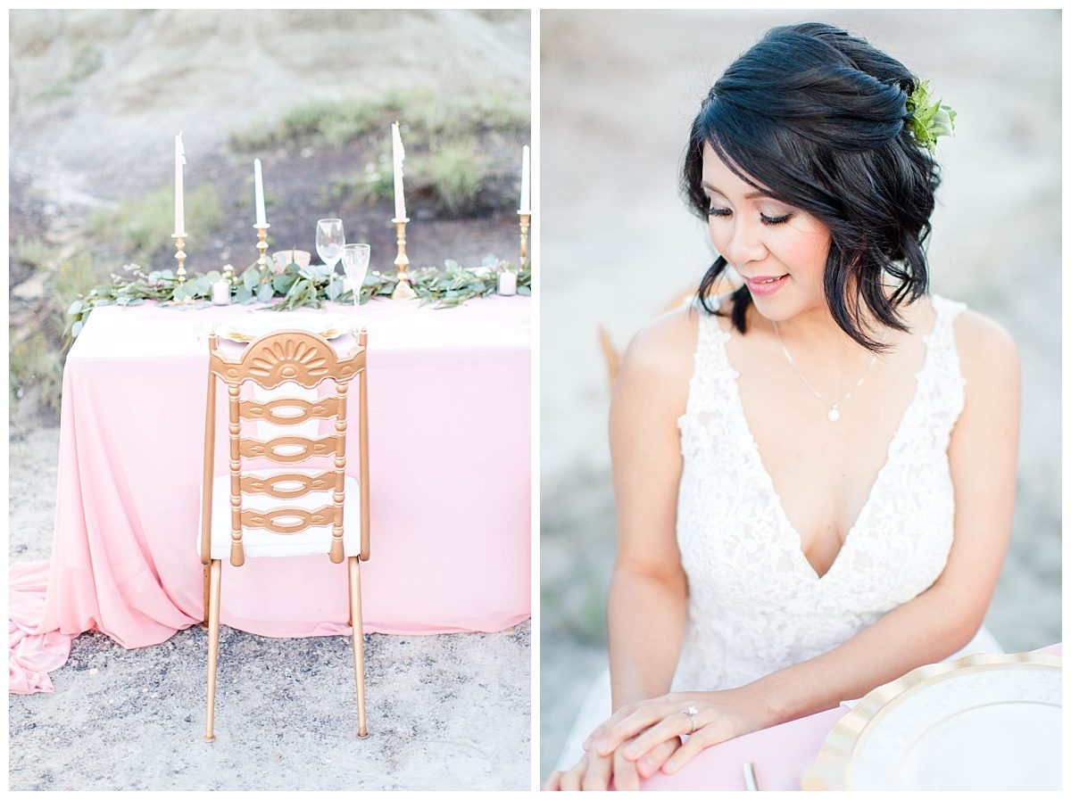 bride jade with gold chiavari chairs with blush pink romantic chiffon and hair by victoria brandsmahair