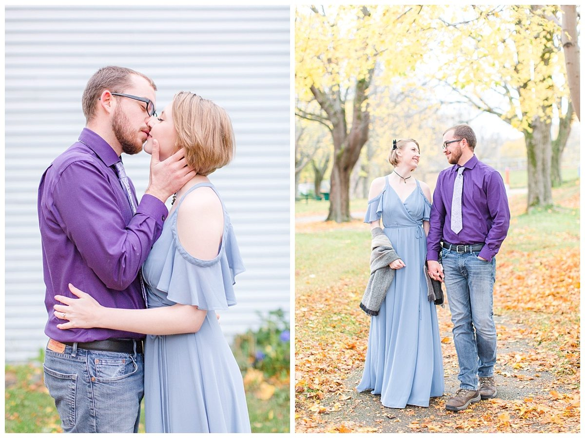 megan and jd kissing engagement photos in front of blue house and also walking and smiling in the park fall st johns newfoundland
