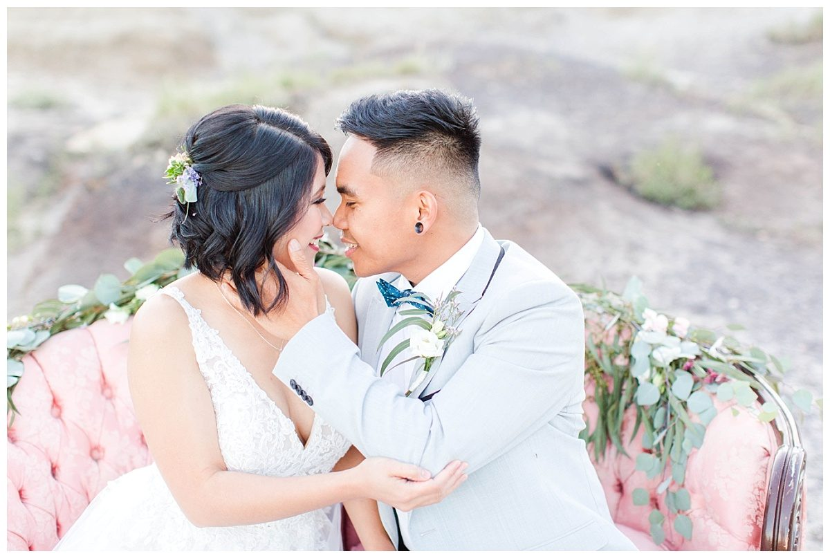 romantic wedding photography at kleskun hills for style elopement close up with jade and rex blush pink couch