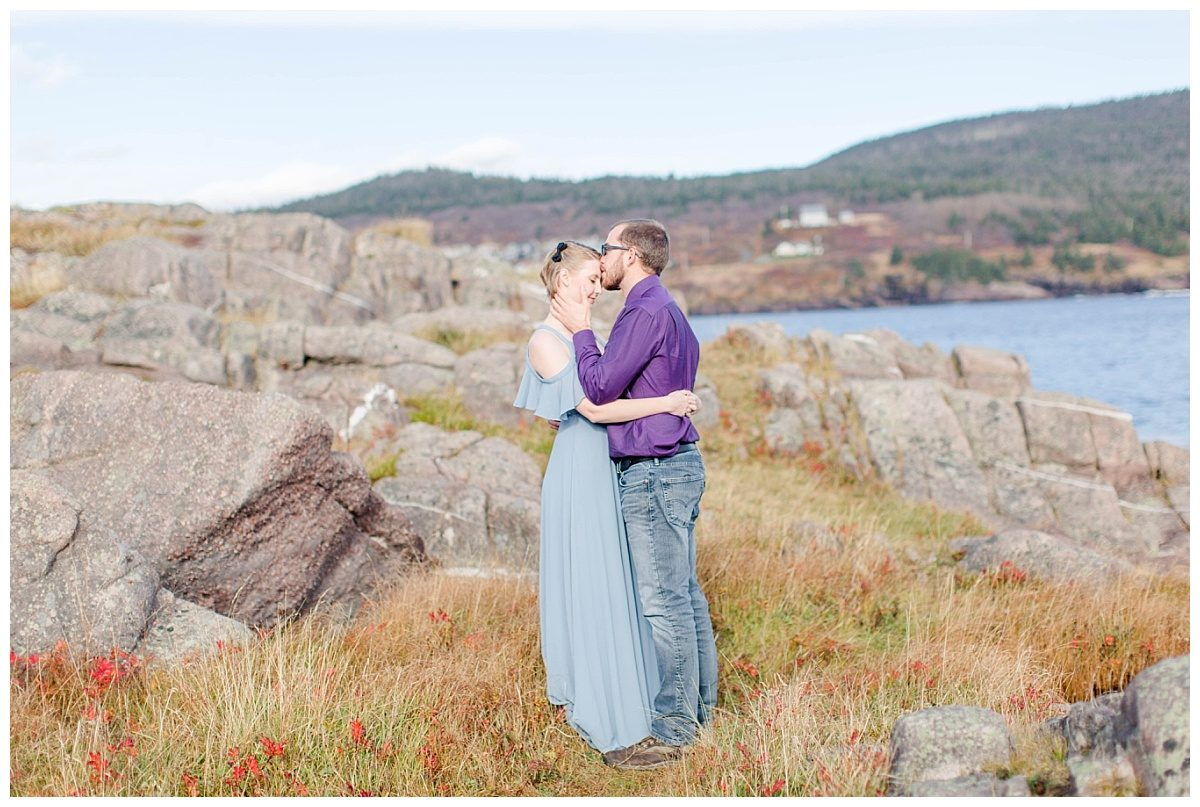newfoundland alberta canadian wedding photographer for engagement photos by the ocean and big rocks eastern canada
