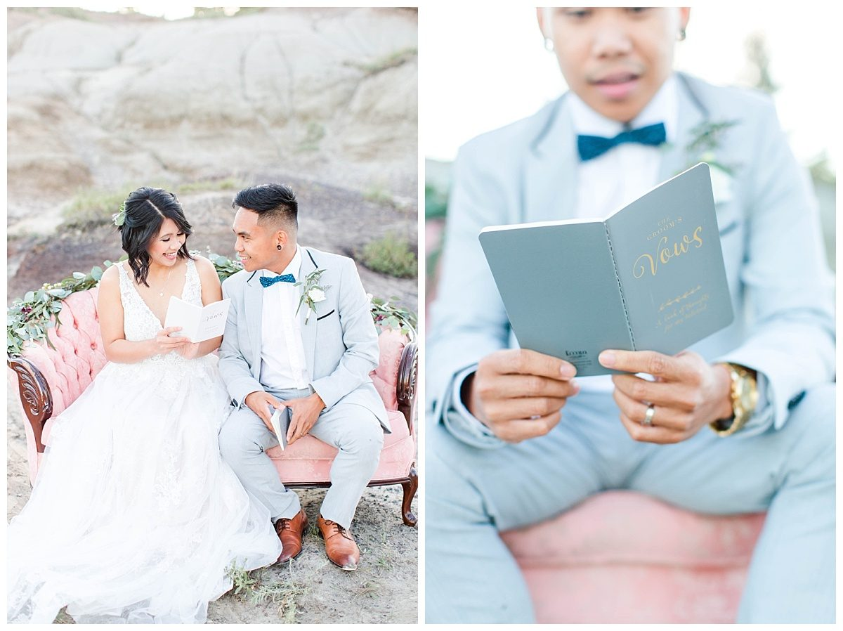 rex and jade reading their wedding vows during their grande prairie kleskun hills elopement with blush pink couch at kleskun hills
