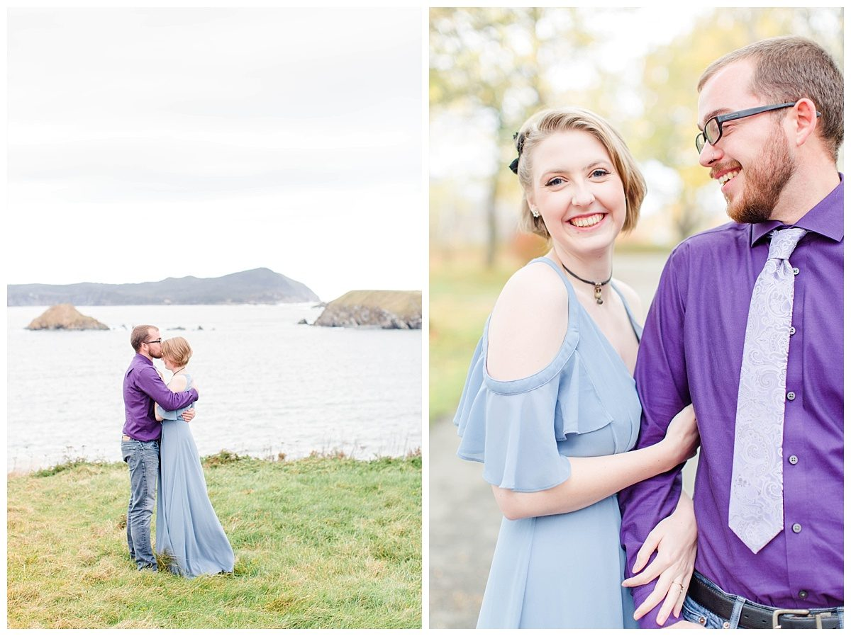 engagement photos with jd and megan blue and purple in newfoundland ferryland a special place megan close up laughing