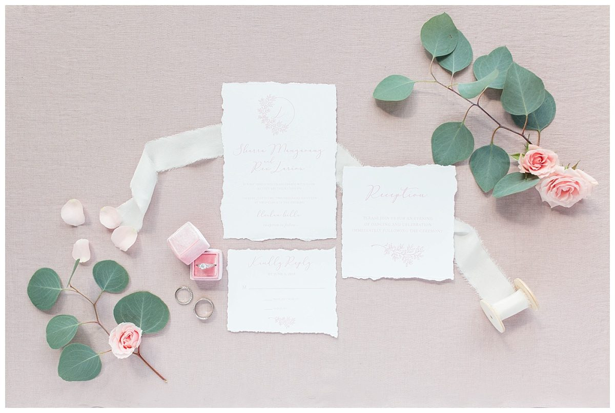 beautiful invitation suite by 24th ave designs blush with a bit of greenery from bling out parties and mrs blush ring box