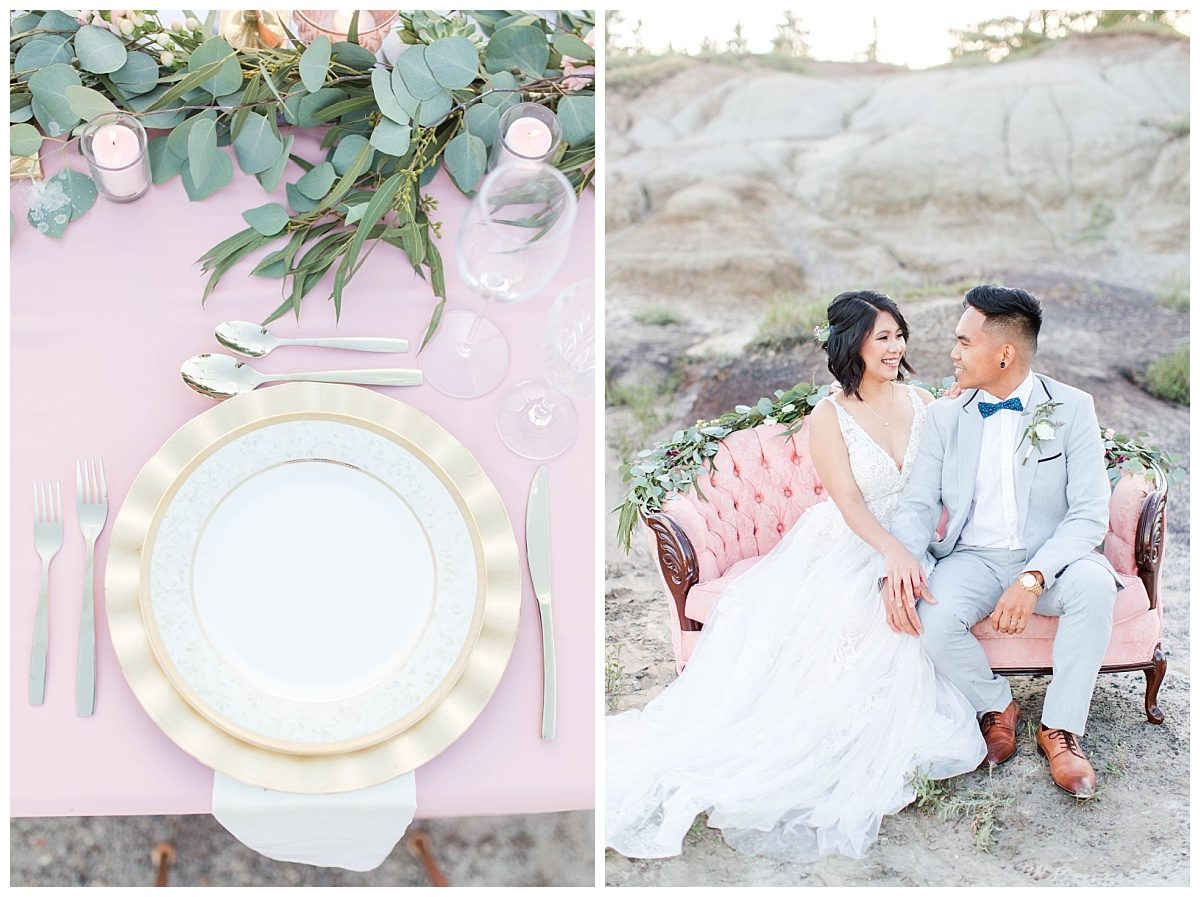 bling out parties designs and florals with rex and jade sitting on couch wedding elopement at kleskun hills grande prairie alberta
