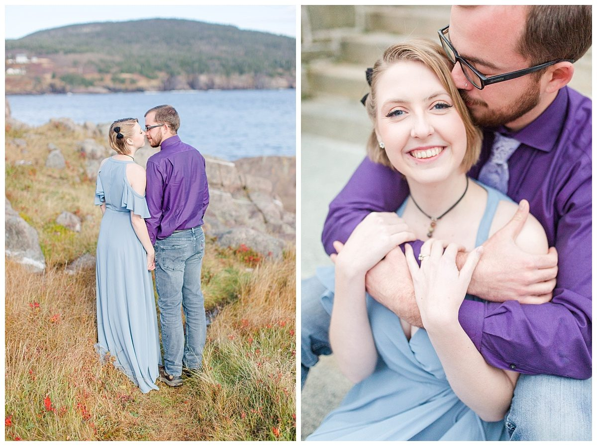 close up of bride engagement photos newfoundland by the ocean with rocks water and coloful grass blue and purple shirt and maxi dress what to wear