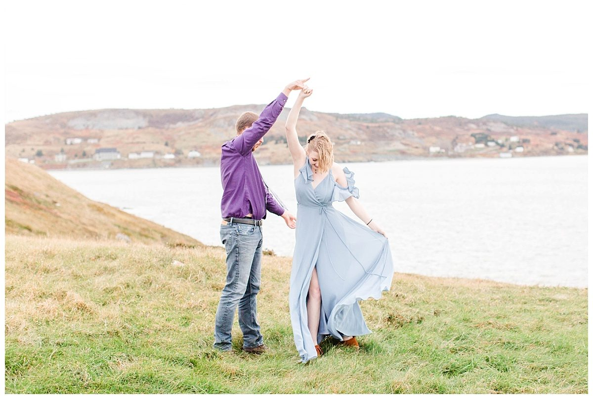 jd twirling megan in ferryland newfoundland engagement photos
