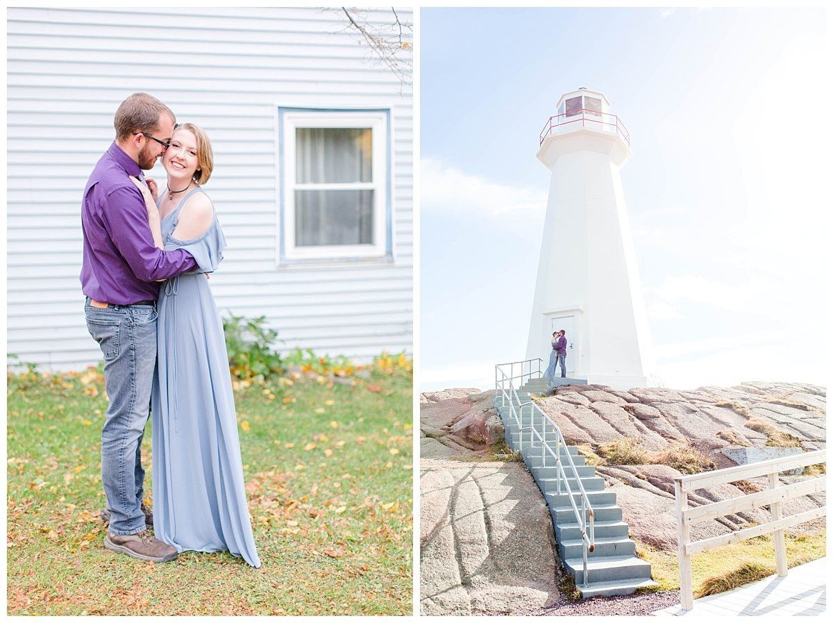 newfoundland engagement photos with jd and megan at cape spear with light house and light blue building newfoundland