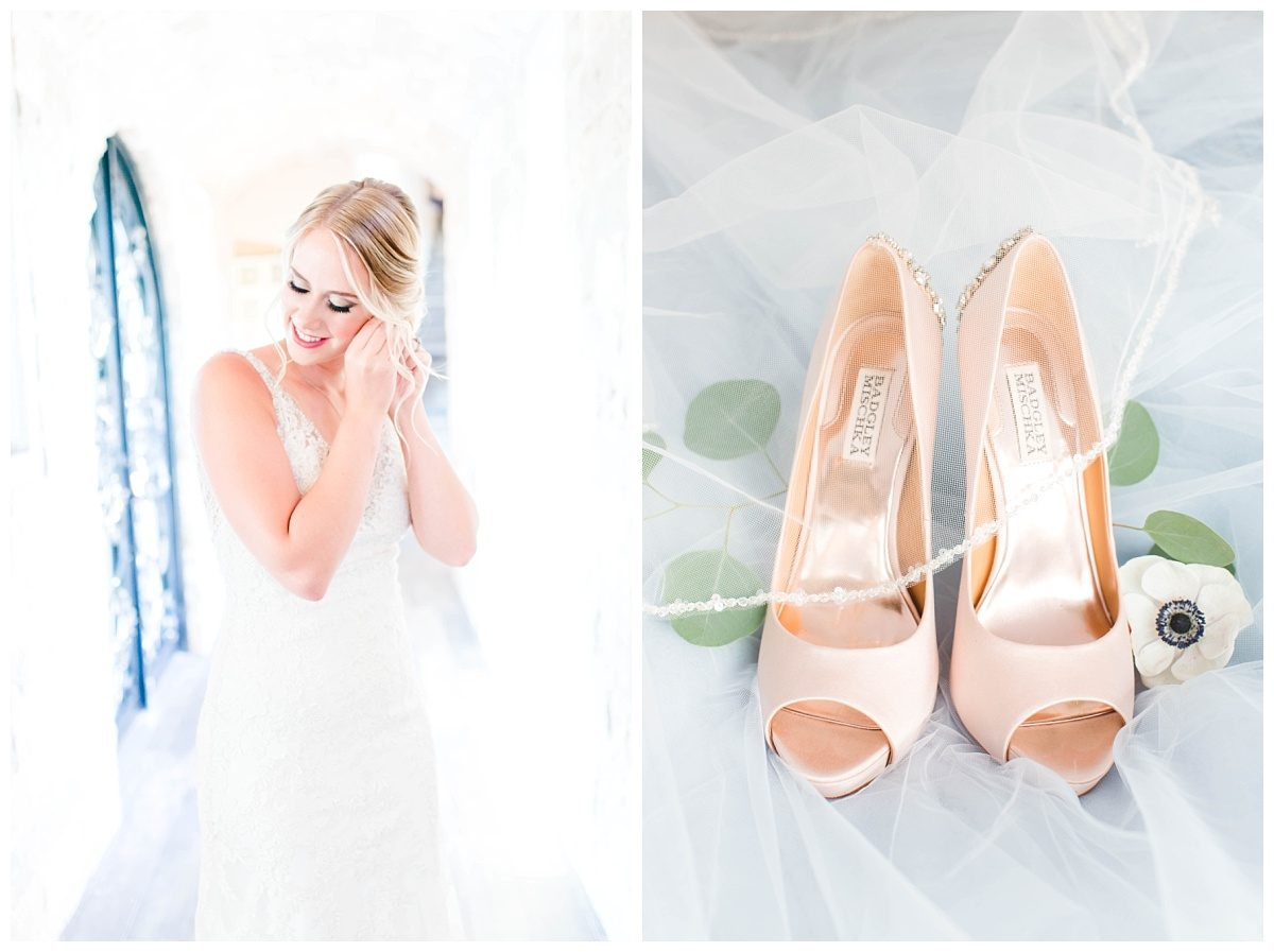 bride getting ready in a beautiful tuscany italy wedding with her badgley mischka wedding blush shoes
