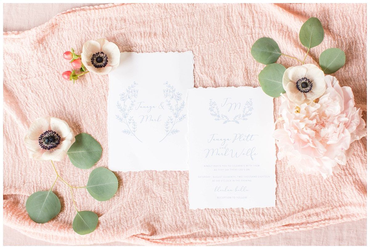 amazing blush pink and dusty blue wedding stationary made by 24th ave designs for tuscany italy bllush pink anemone layflat details for mark and janaya