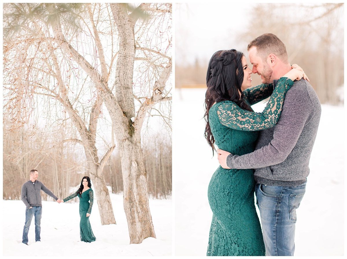 winter engagement photos in grande prairie with amanda and corwin wearing green dress from lulus at the south bear creek
