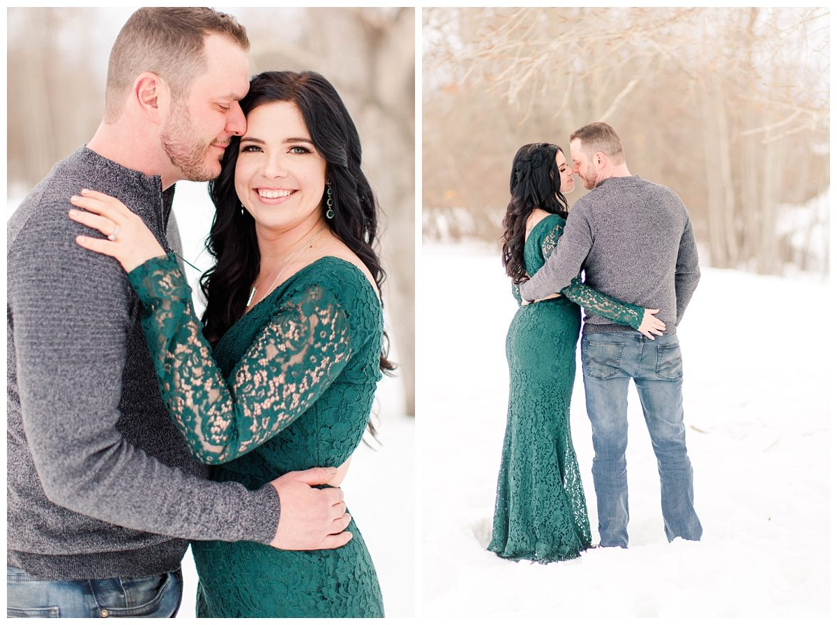 long lace lulus green dress amanda and corwin for their engagement photos in grande prairie alberta winter with creamy and dreamy background nuzzle pose
