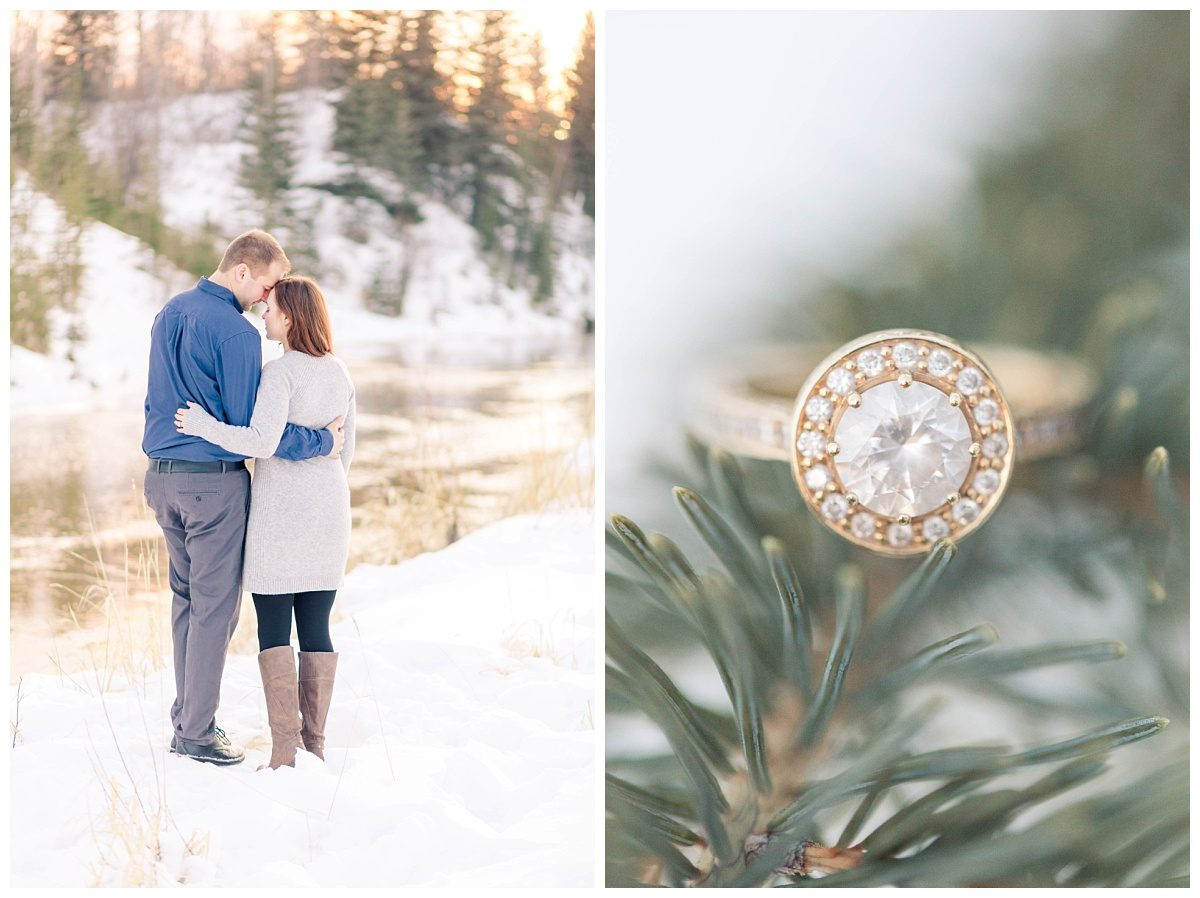 custom gold wedding ring gina sitting on a green spruce tree in the winter with all the snow beside the glowing sunset river in the winter snow