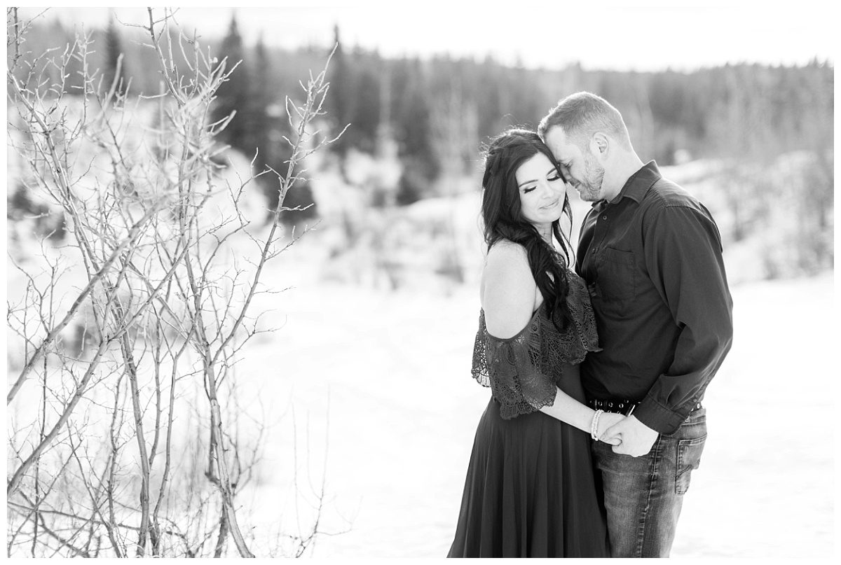 black and white photo of amanda and corwin in grande cache couple