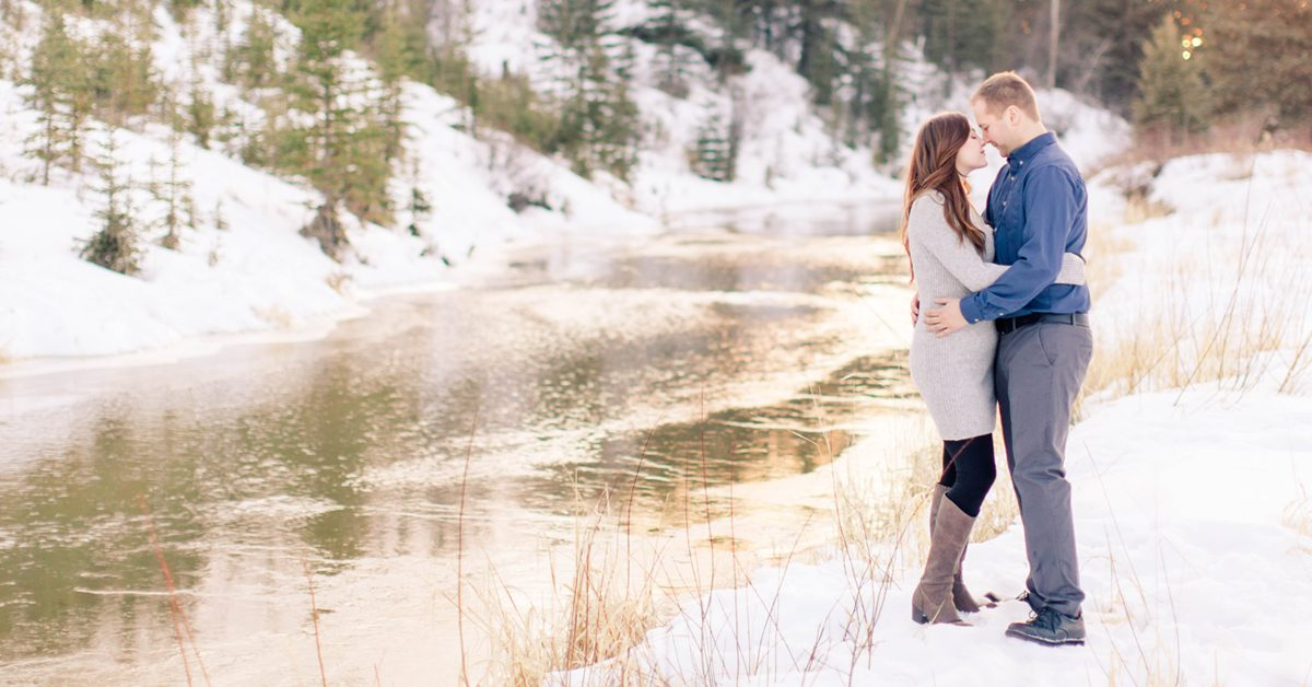 wedding engagement couple in grande prairie at the south bear creek by the river