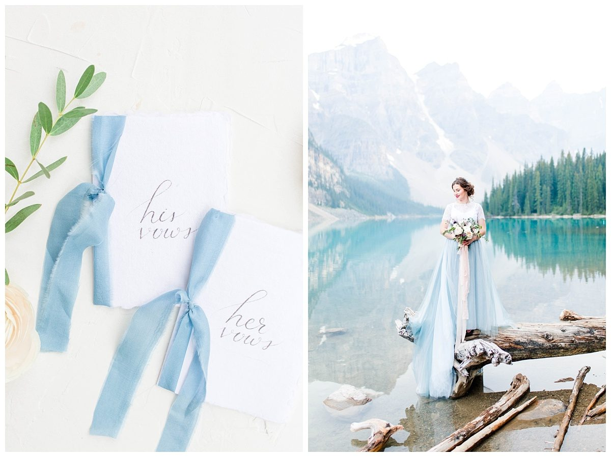 banff styled elopement with grande prairie alberta wedding planner at moraine lake with pretty vow books