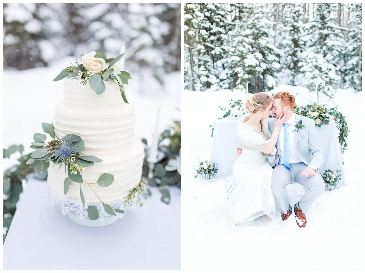 modern and elegant winter wedding cake with gorgeous winter wedding couple in grande prairie alberta