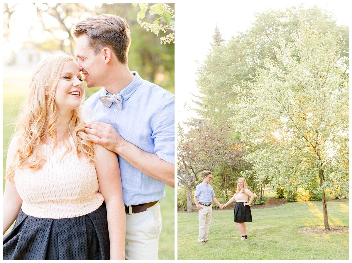 cute couple wearing blush pink and blue in the grande prairie blossoms at julibee park with wedding photographer kayla lynn photography lots of greens and trees in the background