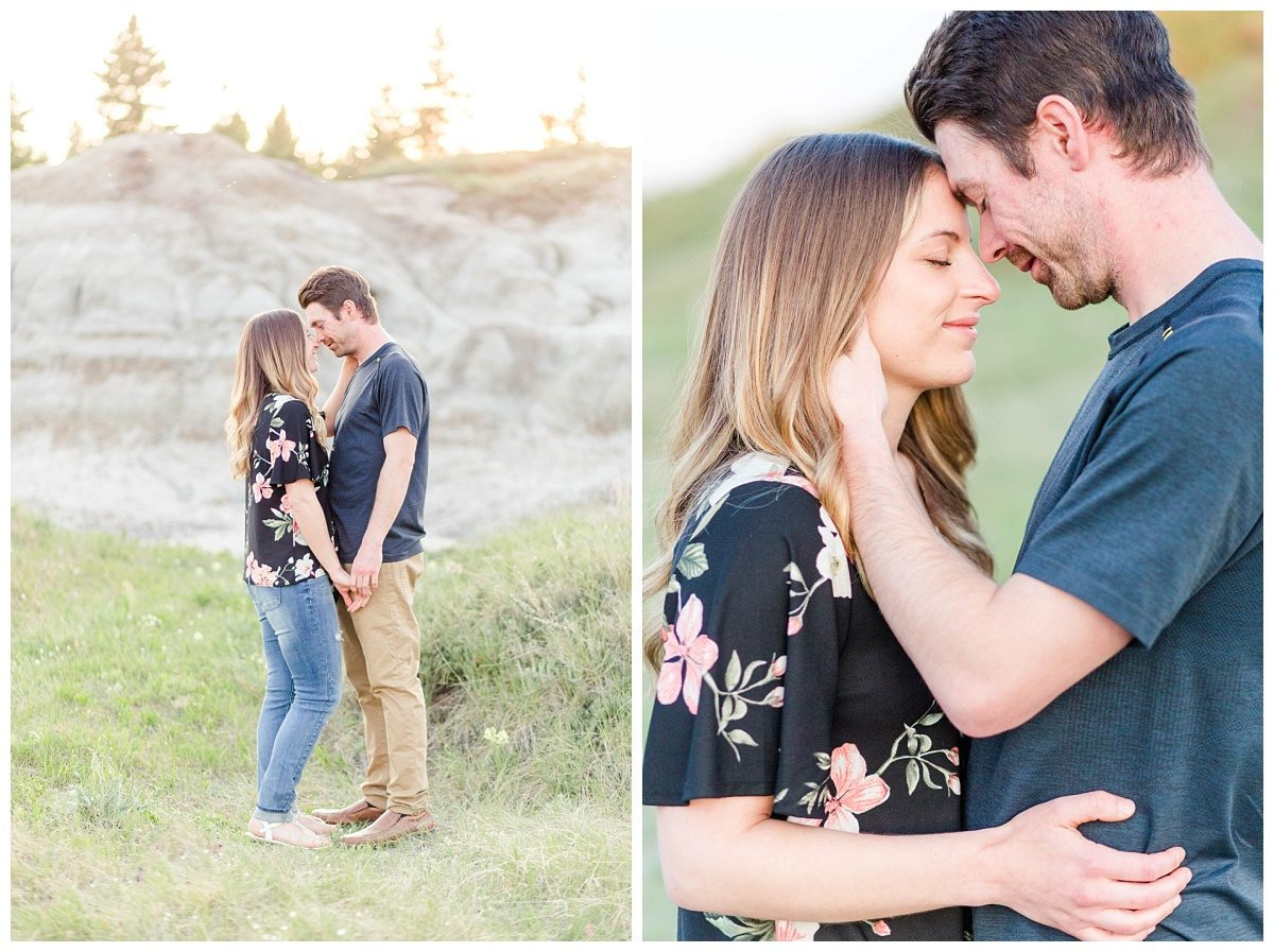 beautiful couple for their engagement photos at kleskun hills nicole and kyle with floral black top
