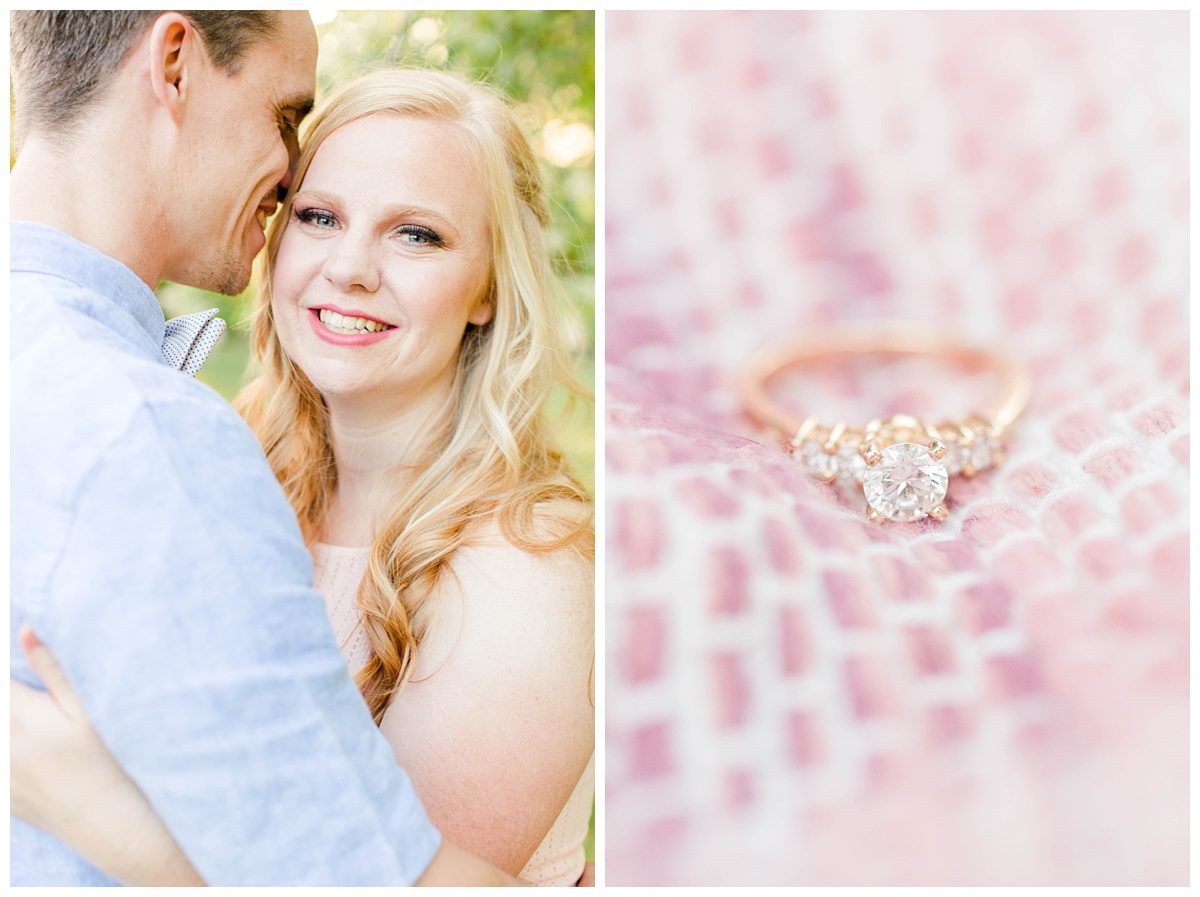 kyle and laurella close up of her smiling at the camera and close up of gold engagement ring sitting on blush patterned blanket makeup with blush and light blue