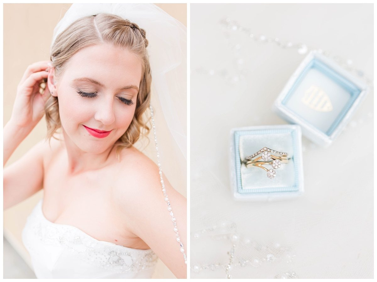 elegant bride getting ready in grande prairie with custom light blue box makeup by lina close up photos very editorial and professional photographer photography in grande prairie alberta