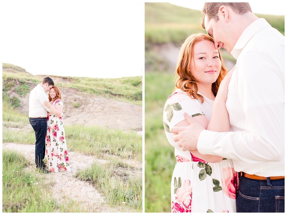 clarkson hall wedding couple for their engagement session with kailey and gerad floral dress at kleskun hills grande prairie