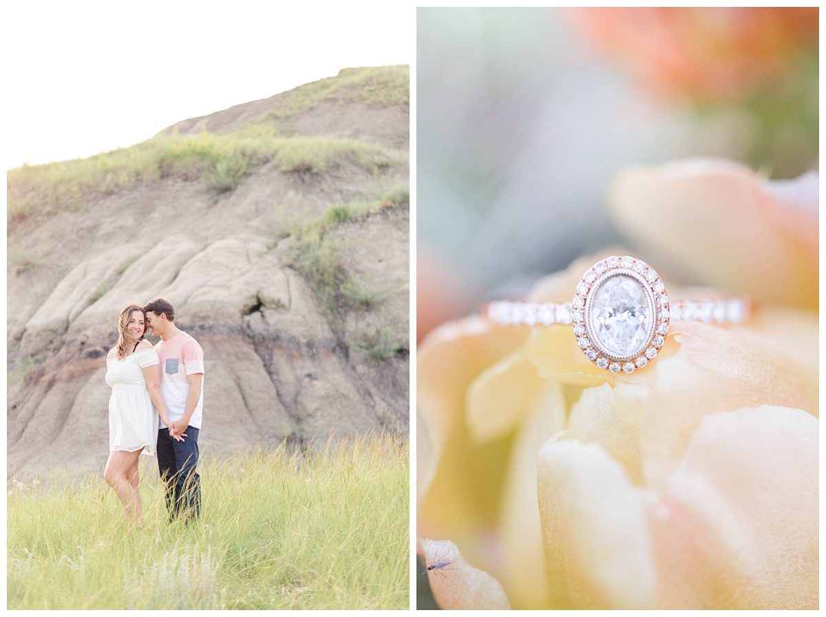 grande cache engagement with wedding photographer at kleskun hills ring photos on a flower cacti yellow and coral colors