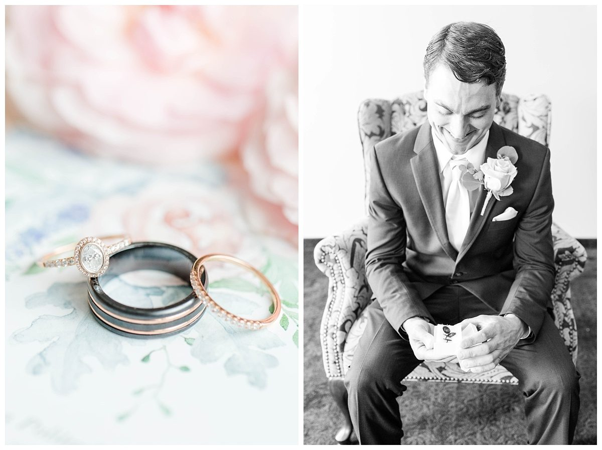 grande cache wedding photographer with mikey and anna pastel ring photo groom opening gift from bride getting ready