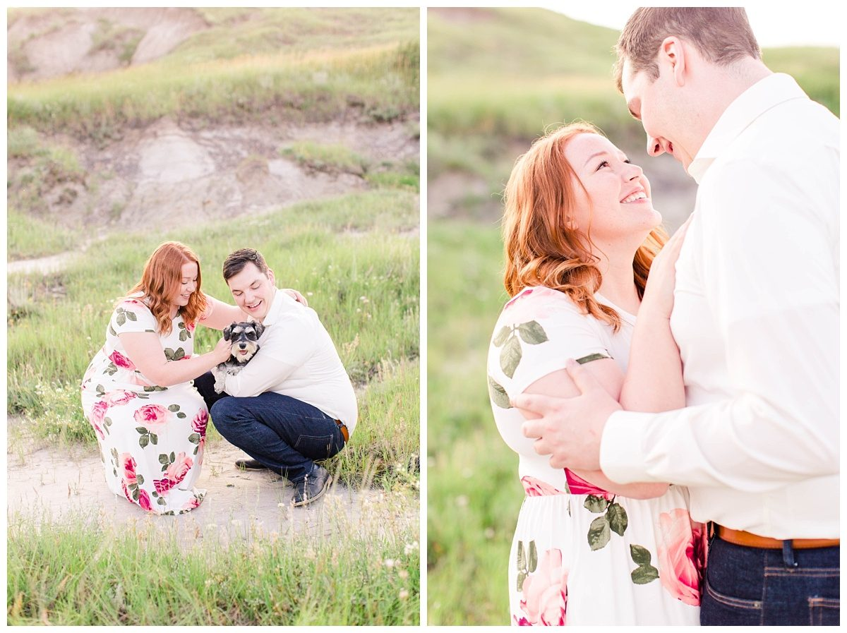 dog engagement session with piper wearing floral dress engaged couple at kleskun hills very vibrant and light and airy