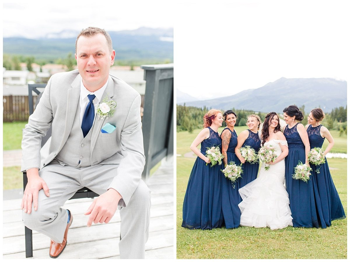 groom sitting for getting ready photo and bridemaids in grande cache with their deep blue dresses mountains