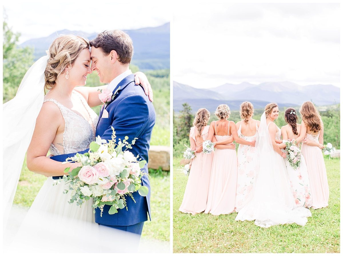 bride and groom bridal party photos at labyrinth in grande cache during wedding ceremony with photographer