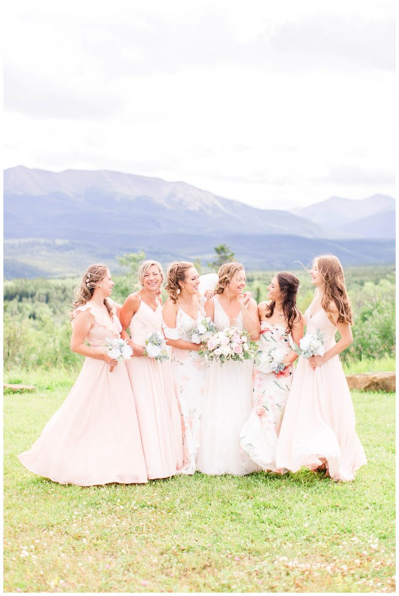 bridal party blush and floral dress grande cache