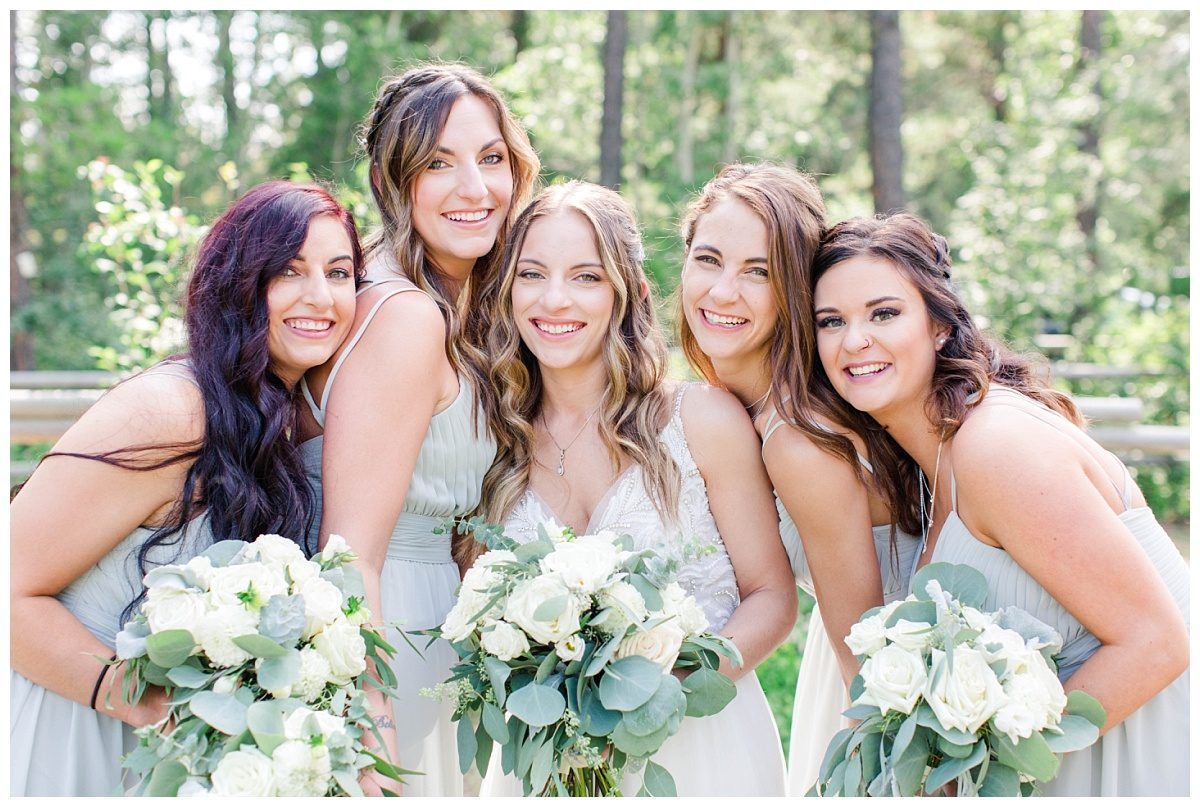 bridesmaids wedding photography with nicole bride lots of greenery and happy joyful photos